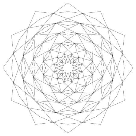astral: Circular astral geometric pattern mandala star black and white - mystic background