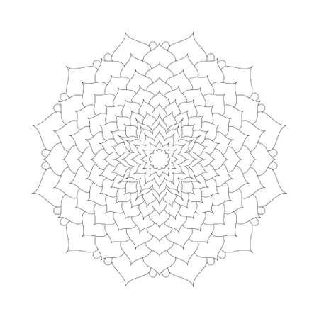 spiked: Circular pattern mandala lotus flower black and white - floral background