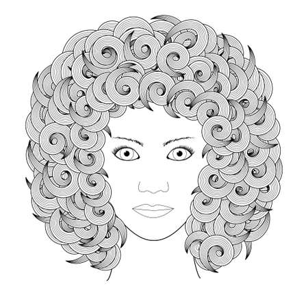 curly hair: Portrait of woman with curly hair black and white