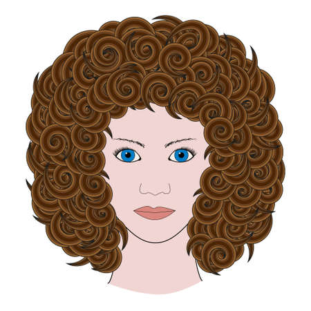 brown hair: Portrait of woman with curly brown hair colored