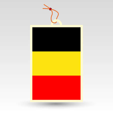 made in belgium: vector simple belgian price tag - symbol of made in belgium - label with national flag and string