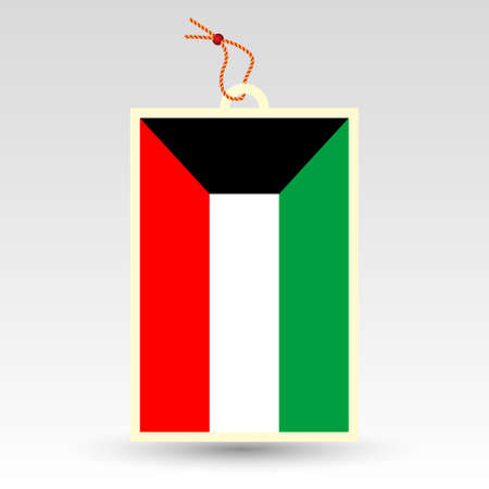 vector simple kuwaiti price tag - symbol of made in kuwait - label with national flag and string
