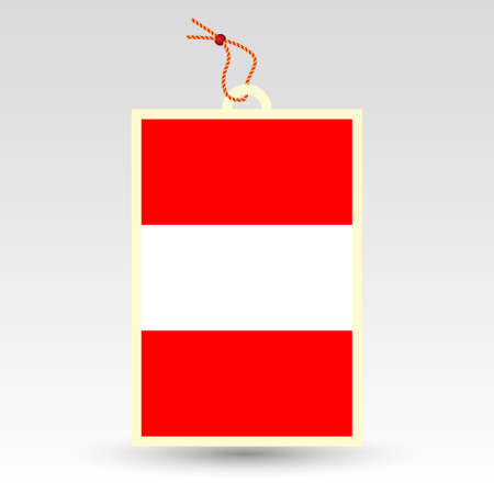 peruvian: vector simple peruvian price tag - symbol of made in peru - label with national flag and string