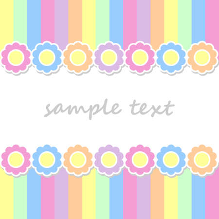 middle easter: spring postcard background with two lines of  flowers and vertical stripes in pastel colors