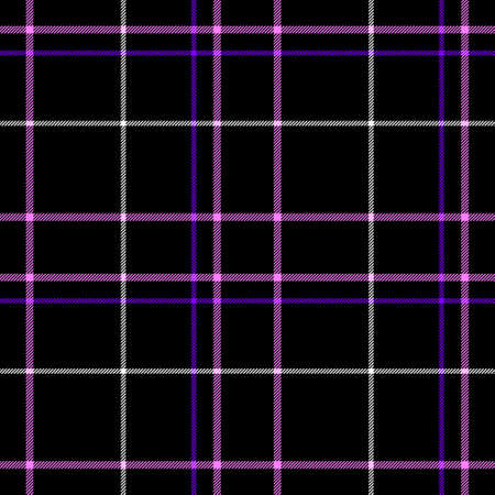 scots: black check diamond tartan plaid fabric seamless pattern texture background with pink, purple and white strips