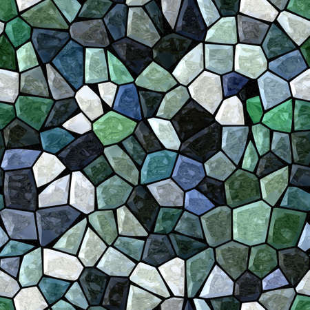 stony: dark green blue marble irregular plastic stony mosaic seamless pattern texture background with black grout Stock Photo