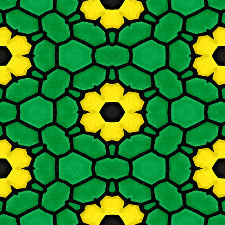 stony: green marble stony mosaic seamless pattern texture background with yellow flowers Stock Photo