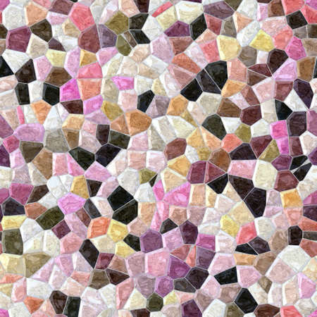 grout: pastel pastel full color marble irregular plastic stony mosaic seamless pattern texture background with gray grout Stock Photo