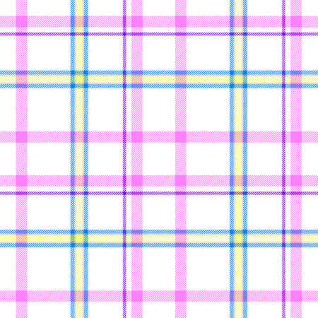 scots: white check diamond tartan plaid fabric seamless pattern texture background with pink, purple, yellow and blue strips