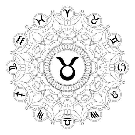 black and white round geometric mandala with zodiac symbol of taurus - adult coloring book