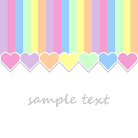 infantile: baby postcard background with hearts and vertical stripes in pastel colors