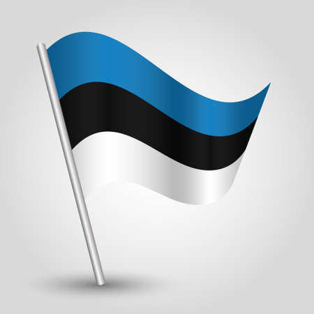 slanted: vector waving simple triangle estonian flag on slanted silver pole - icon of estonia with metal stick