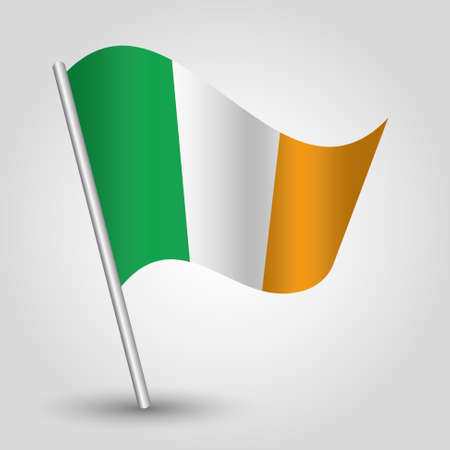 slanted: vector waving simple triangle irish flag on slanted silver pole - icon of ireland with metal stick