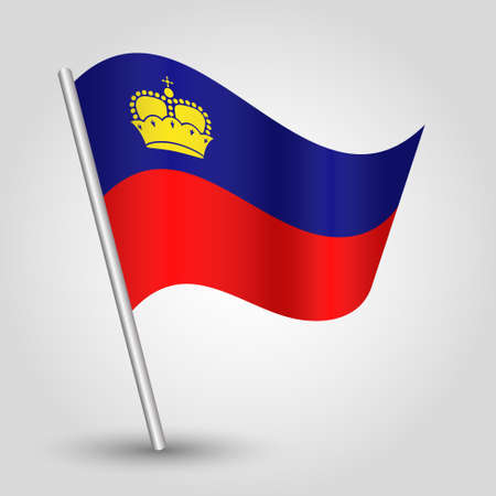 slanted: vector waving simple triangle flag on slanted silver pole - icon of liechtenstein with metal stick