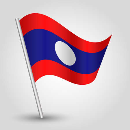 slanted: vector waving simple triangle laotian flag on slanted silver pole - icon of laos with metal stick