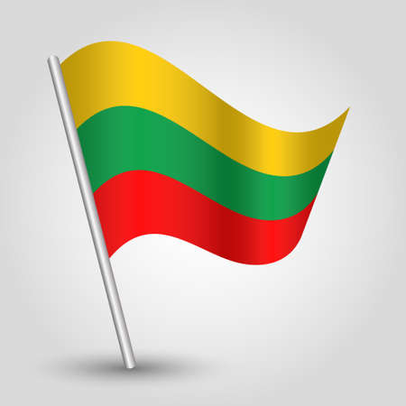 slanted: vector waving simple triangle lithuanian  flag on slanted silver pole - icon of lithuania with metal stick
