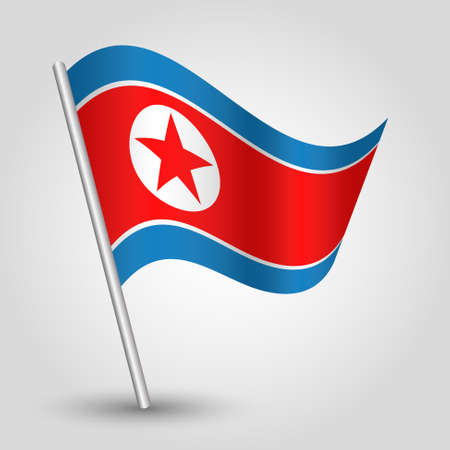 slanted: vector waving simple triangle korean flag on slanted silver pole - icon of north korea with metal stick