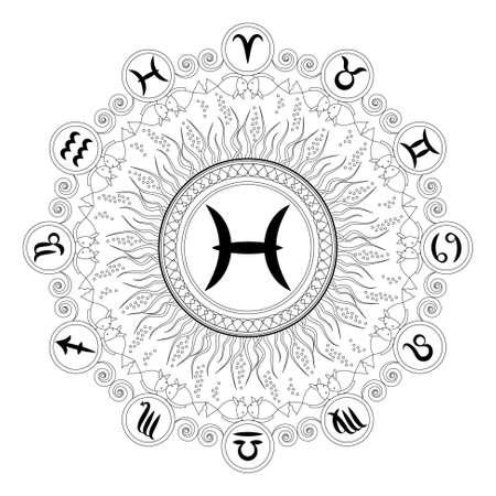 zwart en witte ronde geometrische mandala met zodiac symbool van vissen - volwassen kleurboek pagina