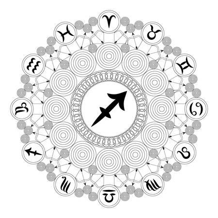 black and white round geometric mandala with zodiac symbol of sagittarius - adult coloring book