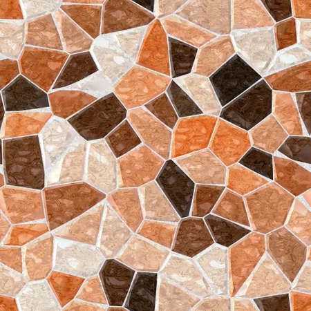 grout: beige brown orange marble irregular plastic stony mosaic seamless pattern texture background with gray grout