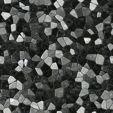 stony: black gray marble irregular plastic stony mosaic seamless pattern texture background with dark grout Stock Photo
