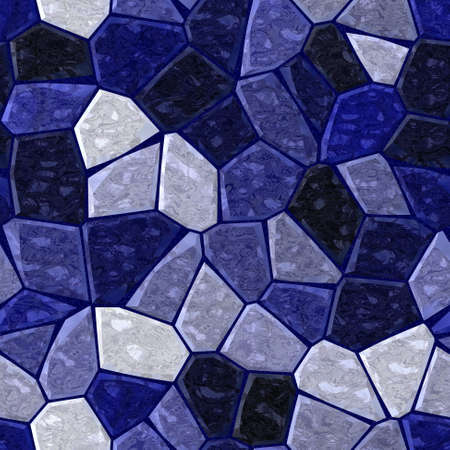 grout: dark blue marble irregular plastic stony mosaic seamless pattern texture background with grout Stock Photo