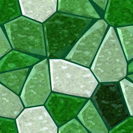 grout: green marble irregular plastic stony mosaic seamless pattern texture background with dark grout Stock Photo