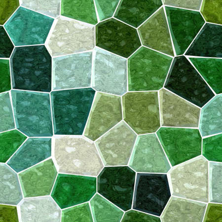 green turquoise marble irregular plastic stony mosaic seamless pattern texture background with white grout