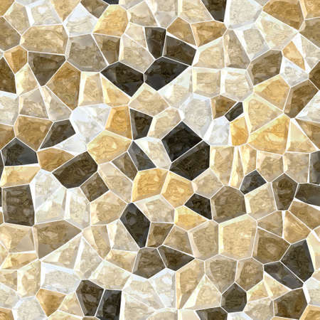 natural beige brown marble irregular plastic stony mosaic seamless pattern texture background with white grout
