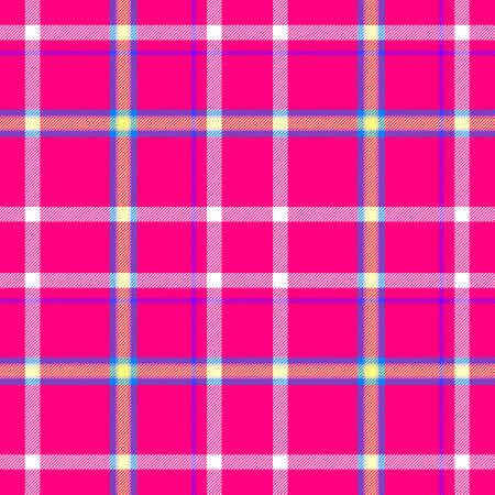 scots: pink white blue yellow check diamond tartan plaid fabric seamless pattern texture background Stock Photo