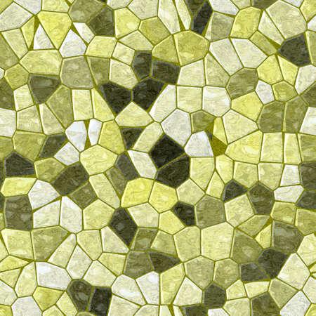 wallboard: yellow green marble irregular plastic stony mosaic seamless pattern texture background with khaki grout