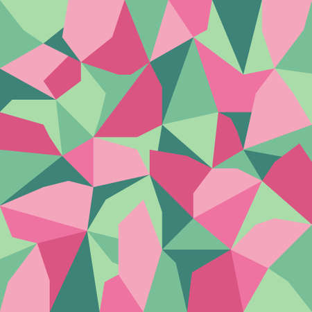 tessellation: vector abstract irregular polygon background with pattern in pink and green colors