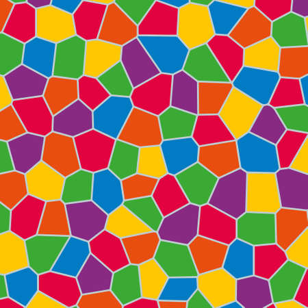 full color irregular baby polygon mosaic pattern background with gray grout