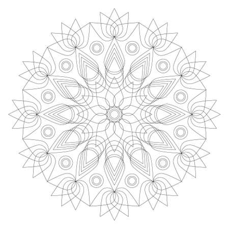 intricacy: black and white round geometric mandala lotus flower shape - adult coloring book page Illustration