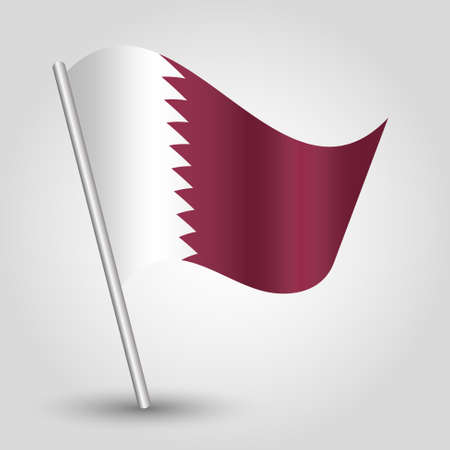 slanted: waving simple triangle qatari flag on slanted silver pole - icon of qatar with metal stick