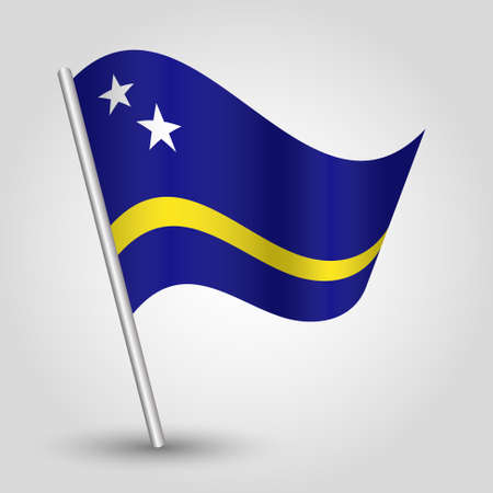 slanted: waving simple triangle curacaoan  flag on slanted silver pole - icon of country of curacao with metal stick