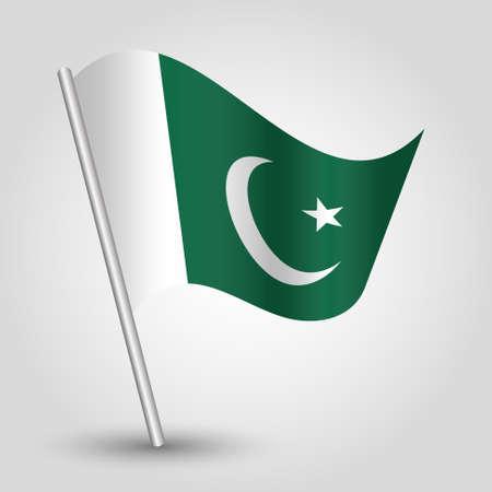 pakistani: waving simple triangle pakistani flag on slanted silver pole - icon islamic republic of pakistan with metal stick