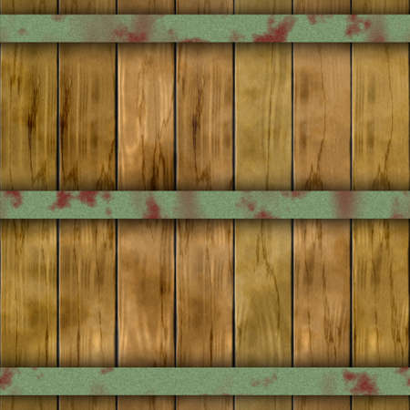 hoops: old wood plank barrel wood plank seamless pattern texture background with three rusty metal hoops Stock Photo