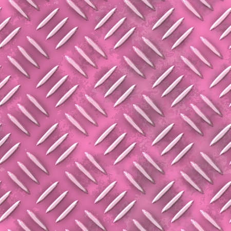 steel sheet: old pink diamond metal plate seamless pattern texture background Stock Photo