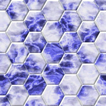 wallboard: blue marble bathroom hexacomb tiling surface seamless pattern texture background Stock Photo
