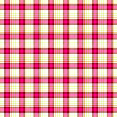 scots: pink yellow check diamond tartan scot plaid fabric material seamless pattern texture background Stock Photo