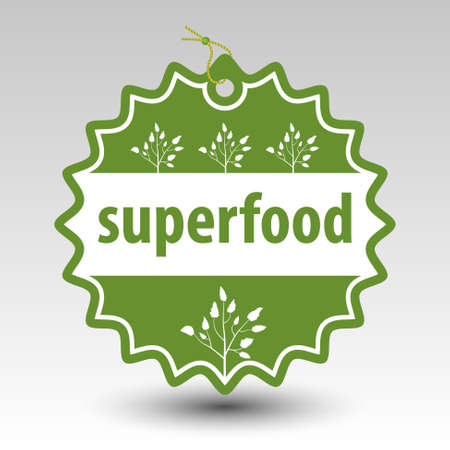 designation: green superfood round stamp tag label with string and bead and with white silhouette of plant