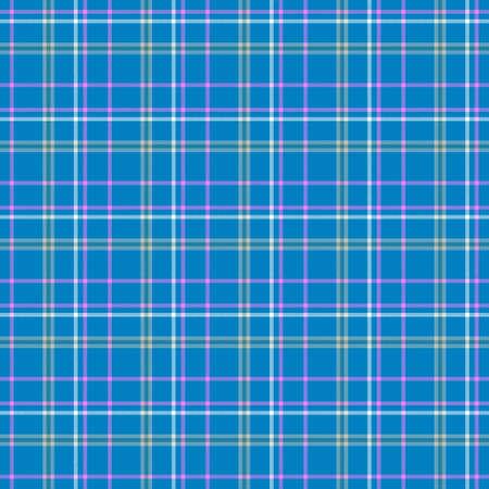 scots: blue pink white check diamond tartan plaid fabric seamless pattern texture background Stock Photo