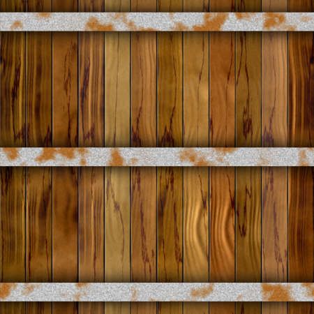 iron hoops: dark brown barrel wood plank seamless pattern texture background with three rusty metal hoops
