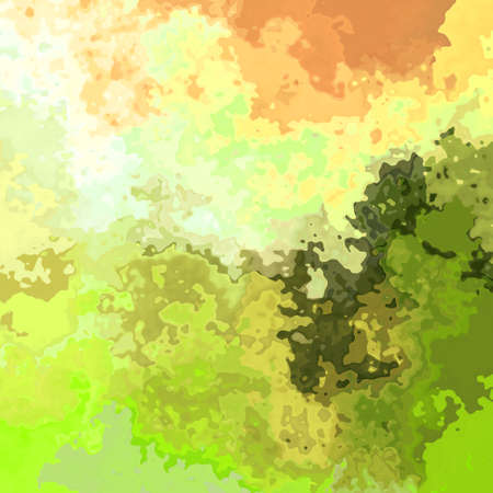 blotchy: abstract green orange artistic spotty pattern texture background Stock Photo