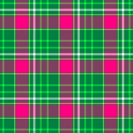 scots: green pink purple check diamond tartan plaid fabric seamless pattern texture background Stock Photo
