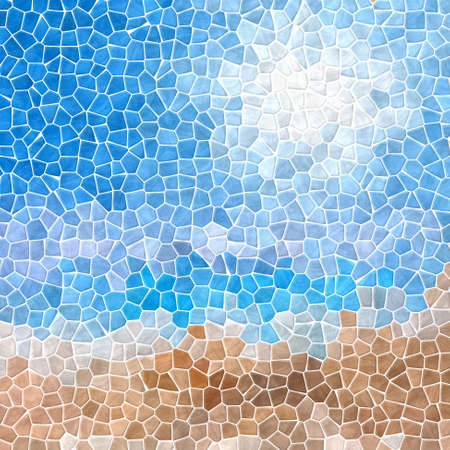 grout: mosaic blue sky over sand beach pattern texture background with white grout Stock Photo