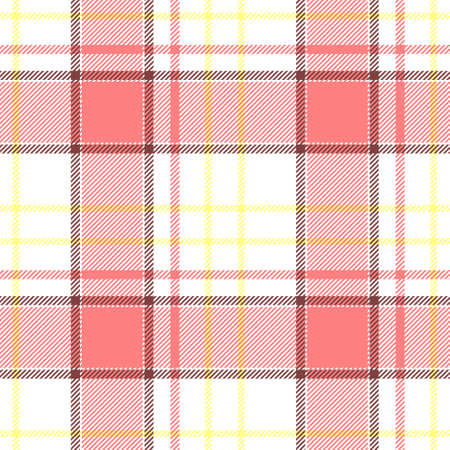 cloth manufacturing: white pink yellow check diamond tartan plaid fabric seamless pattern texture background