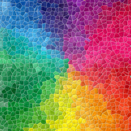 full color: mosaic full color spectrum pattern texture background with gray grout