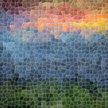 grout: mosaic green blue pink pattern texture background with gray grout